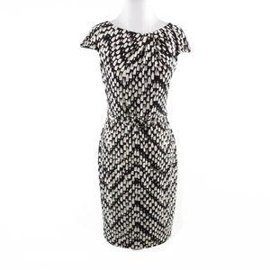 David Meister black cap sleeve sheath dress 6